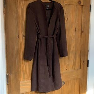 I.N.C. Brown faux suede belted duster coat - 10